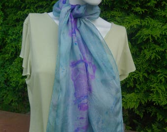 silk scarf hand dyed silk scarf resist dyed silk scarf blue mauve scarf long scarf teal and purple scarf OOAK