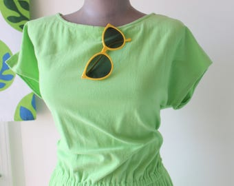 Vintage LIME GREEN Day Dress....size medium large womens...dress. 1980s dress. short sleeved. limeade. summer dress. ladies. garden party