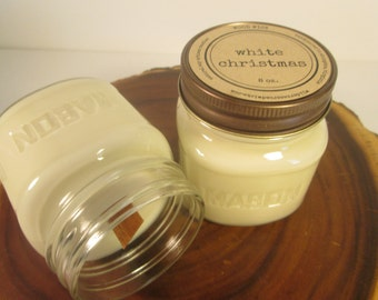 White Christmas 8 oz. Soy Mason Jar Candle // Wood Wick // Christmas/Holiday Scent