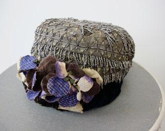 Antique Cut Steel Beaded Floral Hat