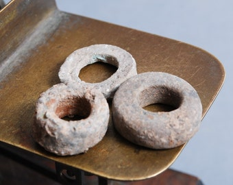 Set of 3 antique heavy metal rings,  primitive finding