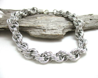"7/32"" Silver Double Spiral Chainmaille Bracelet"