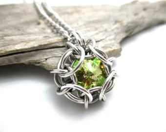 Swarovski Crystal Pendant - Phaedra Chainmaille Pendant - Swarovski Crystal Chainmail Pendant - Luminous Green