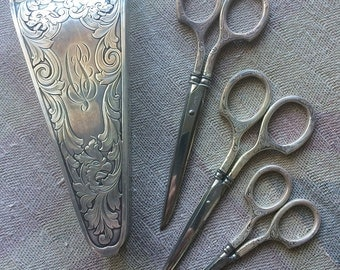 Sterling Scissors (3) in Sterling Etui Case ~ Gorham Circa 1869