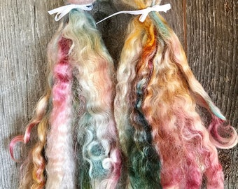 Mohair Hand Dyed and Combed Locks Multi