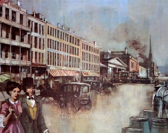 Syracuse N.Y. South Salina Street in the 1850s by C.T. Maciulewicz, Vintage 11x14 Art Print c1960s, Automobiles, FREE SHIPPING