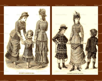 Victorian Children's Fashion Illustrations c1878, April August, Collage & Individual 8.5 x 11 Digital Download JPGs, 3 Sepia 300dpi Images