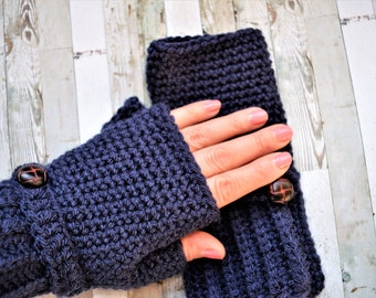 Crochet fingerless gloves , wrist warmers-Winter Gloves