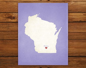 Customized Wisconsin State Art Print, State Map, Heart, Silhouette, Aged-Look Personalized Print