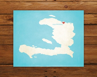 Customized Haiti 8 x 10 Country Art Print, Country Map, Heart, Silhouette, Aged-Look Print