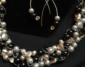 Silver and black wire crochet necklace and earrings