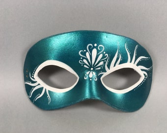 Teal Mermaid Inspired Leather Masquerade Mask