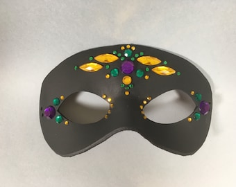 Jeweled Mardi Gras Leather Masquerade Mask, Unisex