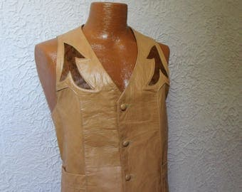 Vintage Men's Leather Western Vest Waistcoat Med/ large