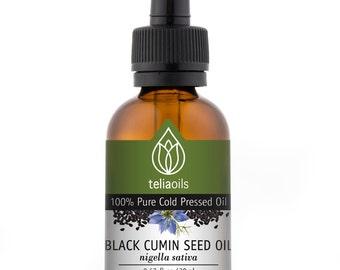 Teliaoils Black Cumin Seed Oil, 100% Pure Organic Cold Pressed, Skin Nails & Hair, an excellent Antioxidant 0.67 fl oz/ 20 ml