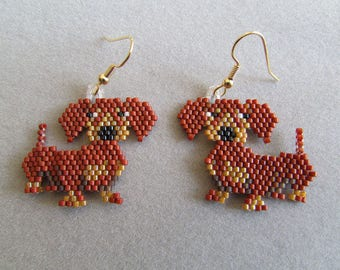 Beaded Dachshund  Earrings