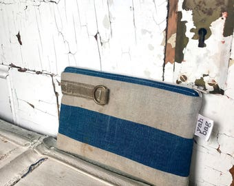 INDIGO LOOP - reconstructed vintage duffle bag small pouch