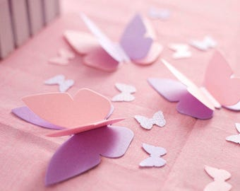 "Butterfly 1st Birthday Party Decorations - 3-D Buttefly Confetti Personalized & ""Fluttering"" Butterflies - Choice of Colors"