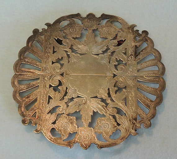 Ornate Floral Etched Vintage Wallace Silver Plate Expanding Trivet / Hot Plate