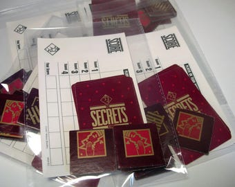 "Vintage Game Pack ""Secrets""*Vintage Playing Cards*15 Game Pieces*Vintage Game Ephemera*Embellishments*Score Cards*Assemblages*Mixed Media"