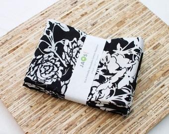 Large Cloth Napkins - Set of 4 - (N3104) - Black Rosecliff Vine Floral Flower Modern Reusable Fabric Napkins
