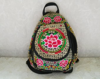 Handmade Embroidered Floral Ethnic backpack, Hmong Fabric rucksack, School bags and purses, Mini woman backpack, zipper backpack