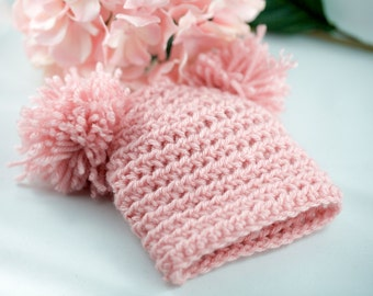 Pink Pom Pom Newborn Hat, Newborn Girl Photo prop, Photography Prop, Crochet Newborn Hat, Pink Baby Girl Hat