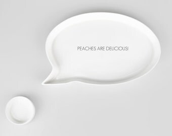 Dessert plate, White Ceramic Plate, Porcelain Plate, Decorative plate - PEACHES ARE DELICIOUS!
