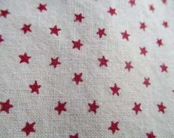 Vintage Cotton Fabric by the yard - 45 inch - Beige/Cream/Red Stars