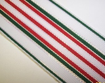 Striped Christmas Colors Wire Edge Ribbon 3 Yards