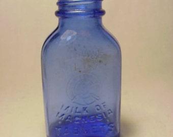 c1930s Genuine Phillips Milk of Magnesia Tablets Glenbrook, Conn. ,Cobalt Blue Medicine Bottle