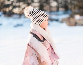 Peony  -Watercolour Baby Blanket Minky