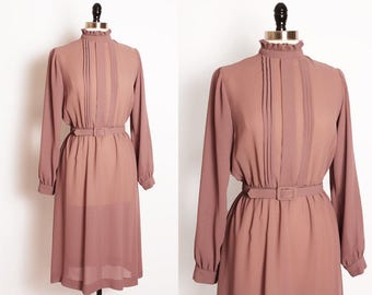 vintage dusty rose midi dress/ secretary dress/ sheer dress/ day dress/ belted/ high collar ruffle/ pleated front dress/ bishop sleeves