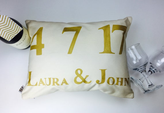 Wedding Pillow - Personalize name and date - Wedding or Anniversary Gift