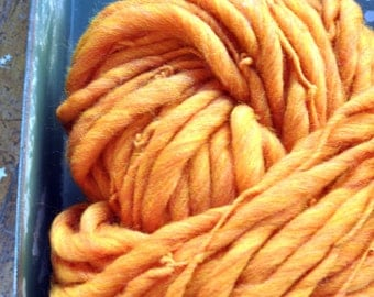 Yarn Handspun Super Bulky Thick n Thin Big Orange Pumpkin Hand dyed Wool Knitting Crochet Supplies Yospun