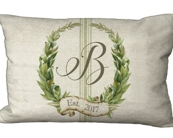 Oblong Monogram Custom Laurel Wreath with Grainsack Stripe in Choice of 18x12 20x13 22x12 24x16 Inch Pillow Cover