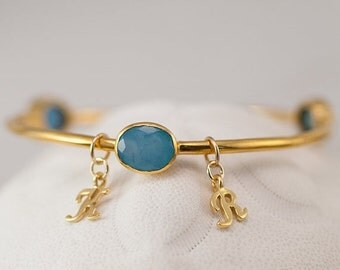 40 OFF - Personalized Charm Bangle - Blue Chalcedony Bracelet  - Friendship Bracelet - Initial Charm Bracelets
