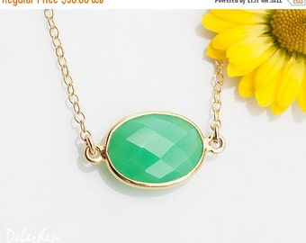 40 OFF - Mint Chrysoprase Necklace - Bezel Set Gemstone Connector Necklace - Bridesmaid Necklace - Gold Necklace