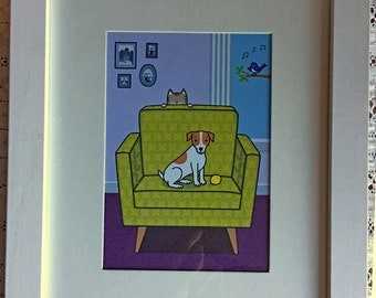 Jack Russell Terrier on Chair with Cat and Bird Framed Illustration Print Cute