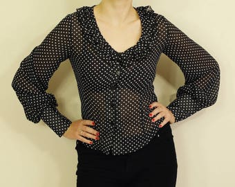 Black and White Polka Dot Button Up Blouse with Frill Detail 70s 80s B