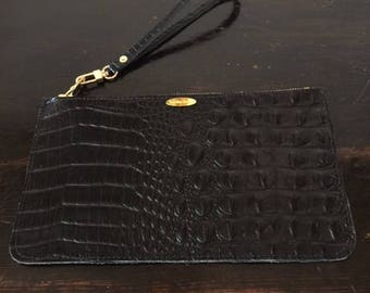 Black Croc. Pouch 5 1/2 x9 1/2 inches  (imposed)