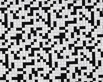 Crossword Puzzle black and white cotton quilting fabric by Timeless Treasures