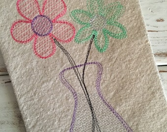 Flowers Spring Flower Vase Sketch Embroidery Design 5x7 6x10