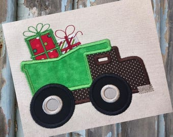 Dump Truck Christmas Gifts Presents Applique Embroidery Design 5x7 6x10 8x8