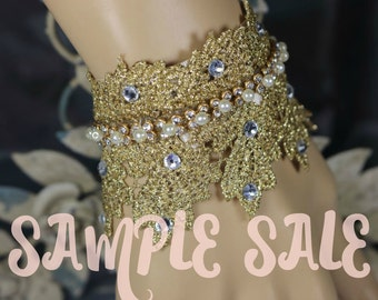 Queen Vic Gold Lace Bracelet .. Wedding Cuff .. Hand Made Gifts .. Event Accessories .. Gold Crown Cuff .. Sample Sale