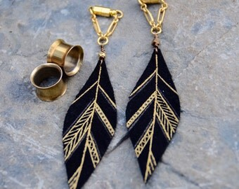 """MAYA Gold and Black Small Aztec Leather Feather Gauged Earrings by BellaDrops 2g, 0g, 00g, 7/16"""", 1/2"""", 9/16"""". 5/8"""" 3/4"""", 7/8"""" 1"""""""