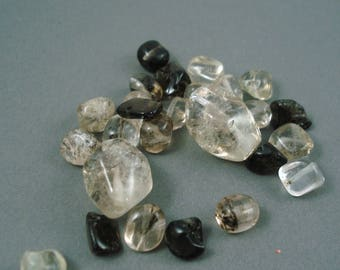 Destash Mix of Clear and Brown Smoky Quartz 2 Larger Pieces Approx 12MM x 16MM and Several Small 6MM Nuggets
