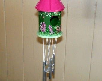 Unique Wind Chime Birdhouse Hand Painted-Bright Magenta & Green-Decorative Windchime Flower Bird House