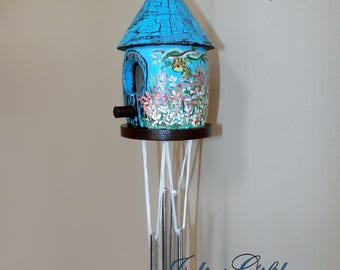 Wind Chime Birdhouse Hand Painted-Decorative Windchime-Light Weight-Cute Gift