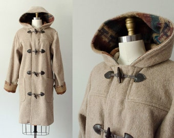vintage wool coat / tan wool hooded coat / kilim pattern / toggle coat / large
